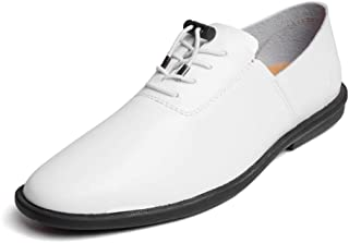 Business Casual Shoes For Men Genuine Leather Lightweight Breathable Dress Wedding Fashion Loafers Anti-slip Flat Lace Up Round Toe` Tussy (Color : White, Size : 39 EU)