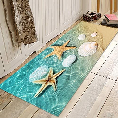 Eletina Case CuteDoormat Beach Starfish Scallop Print Memory Foam Bath Rugs and doormats Non Slip Absorbent Super Cozy Flannel Bathroom Rug Carpet 47x17 inches Inside Outdoor Doormat