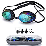 Swimming Goggles,Triathlon Glasses Anti Fog Shatterproof UV Protection,No Leaking with Silicone Nose Clip Ear Plugs and Protection Case Swimming Goggles Suit for Men Women Kids-Best Swim Goggles