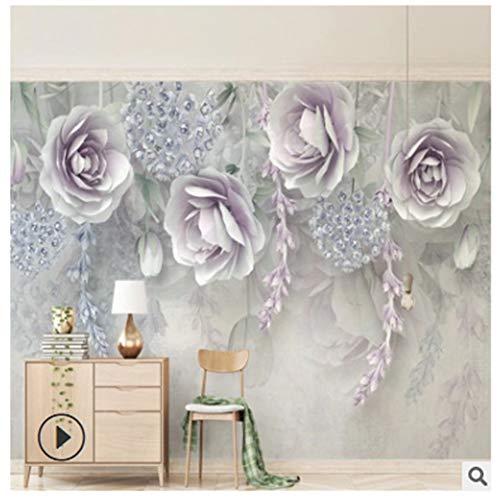 Fototapeten Wandbilder Nahtlose Tapete Lila Blume 8D Stereo Relief Blume Tv Hintergrund Tapete, 350Cm X250Cm