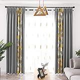 Lino Geometría Impresión Costuras Cortinas Opacas Térmica Aislante para salón habitación y Dormitorio Cortinas 2 Panels,Curtain,W200xL270cm