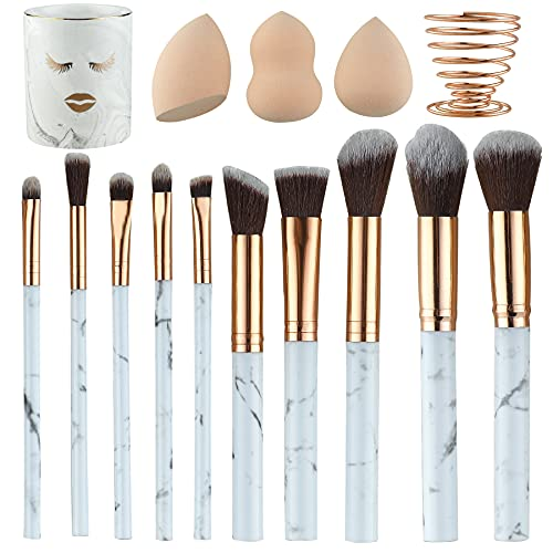 XIMAJIA Marble Makeup Brushes Set 10 with Ceramic Brush Holder and 3 Makeup Sponge with Metal Holder Premium Synthetic Foundation Brushes Blending Face Powder Eye Shadows Makeup Brushes Kit (Marble)