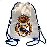 Real Madrid FC - Bolsa de cuerdas con bolsillo (42 x 33cm) (Blanco/Azul/Amarillo/Rojo)