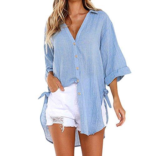 Bluse Damen Shirt Kurzarm Spitze langärmliges Kleid mit Knopfleiste Baumwolle Freizeithemd T-Shirt Hemd satinbluse Stehkragen Karobluse Satin Bunte blusenshirts Schlupfbluse Blusenjacke Jeansbluse