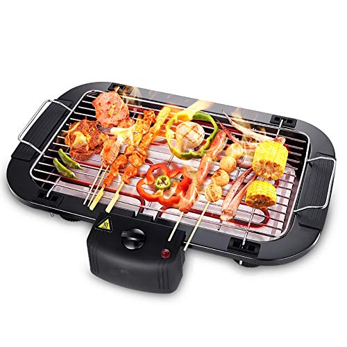 LINLIN elektrische grill binnengrill Smokeless Easy Cleanup oppervlak kook- en thermostaat Drip Tray tafelblad 2000 W (zwart)