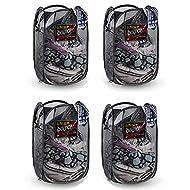 NYHI Foldable Pop Up Laundry Hamper, Mesh Hamper with Reinforced Carry Handles Rectangle, folded laundry basket Black (4)