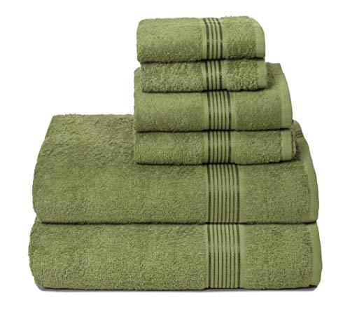 GLAMBURG Set di 6 Asciugamani in Cotone Ultra Morbido, Contiene 2 Asciugamani da Bagno Oversize 70 x 140 cm, 2 Asciugamani 40 x 60 cm e 2 lavapiatti 30 x 30 cm, Colore Verde Kiwi