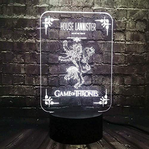Night Light Kids 3D Illusion Led Roman Acrylic Decoration Table Mood 3D Illusion Game of Thrones House Lannister Logo Holiday Supply Party Lava Friends Gift