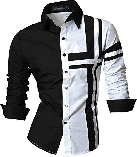 jeansian De Manga Larga De Los Hombres De Moda Slim Fit Camisas Men Fashion Shirts Z014 White XL