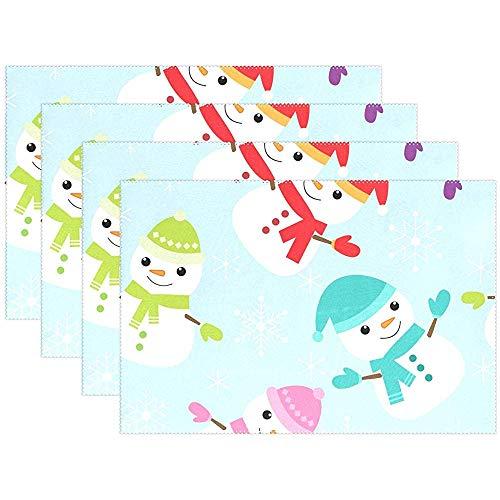 Set de Table de Flocon de Neige pour bonhommes de Neige Hiver 12 x 18 po (30 * 45 cm), Tapis de Table résistant aux Taches, résistant à la Chaleur, Jardin de Cuisine, Ensemble de 4