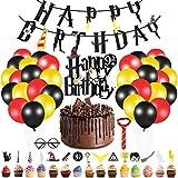 Yizhet Mago Decorazioni Compleanno Forniture per Feste, 49 pz Decorazioni di Compleanno del Mago Banner di Buon Compleanno Cupcake Toppers Cravatta Occhiali Palloncini Decorazione per Festa Halloween
