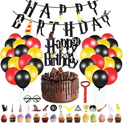 Yizhet Decoracion de Fiesta Mago, 49 Piezas Suministros de Fiesta de Cumpleaños de Mago, Banner de Feliz Cumpleaños Cupcake Toppers Globos Corbata Gafas Decoraciones de Cumpleaños/Halloween