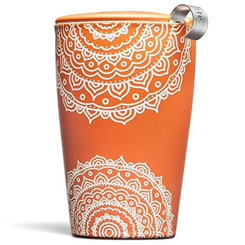Tea Forté KATI Tasse à thé en céramique avec infuseur et couvercle pour infusion de feuilles en vrac