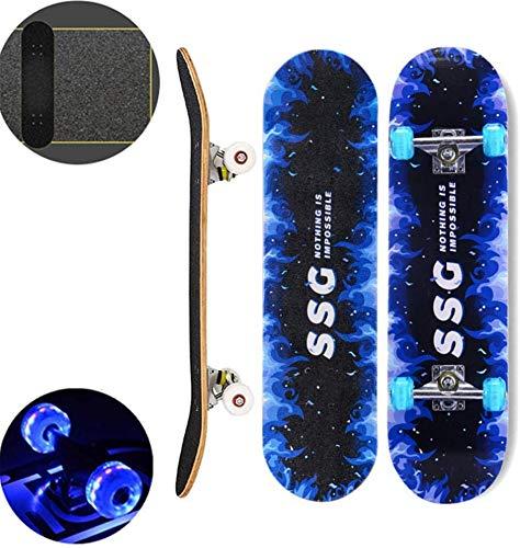 XYY 32-Zoll-Ahornholz Skateboard mit LED-Licht bis Räder Anti-Rutsch-Matte-Skateboard Beginner Series Skateboard Doppel kompletten Trick Skateboard for Erwachsene Kinder und Jugendliche treten