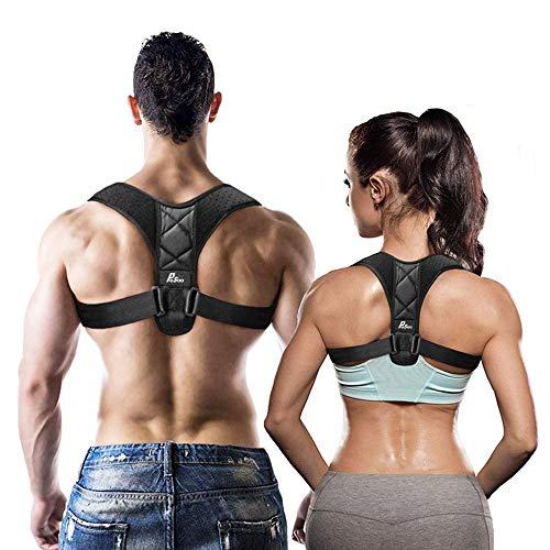 Corrector de Postura - Pesoo Corrección de la Postura de Espalda para Mujeres, Hombres y Adolescentes Alivio del Dolor de Hombros, Cuello Ajustable y Cómodo Dispositivo de Soporte para Clavícula de la Parte Superior de la Espalda - Tamaño Medio