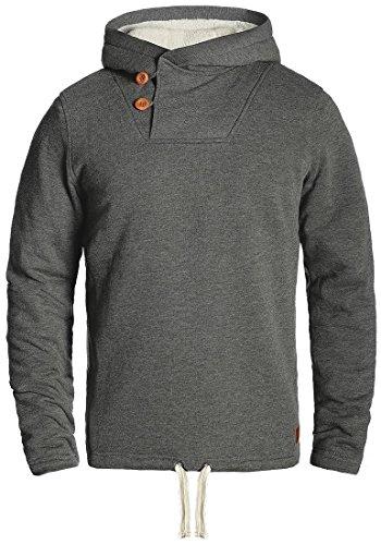 Blend Theodor Herren Winter Pullover Kapuzenpullover Hoodie Sweatshirt mit Teddy-Futter, Größe:M, Farbe:Pewter Mix (70817)