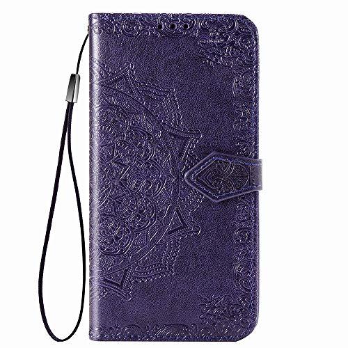 HAOYE Hülle für LG K40S Hülle, Mandala Geprägtem PU Leder Magnetische Filp Handyhülle mit Kartensteckplätzen/Standfunktion, [Anti-Rutsch Abriebfest] Schutzhülle. Lila