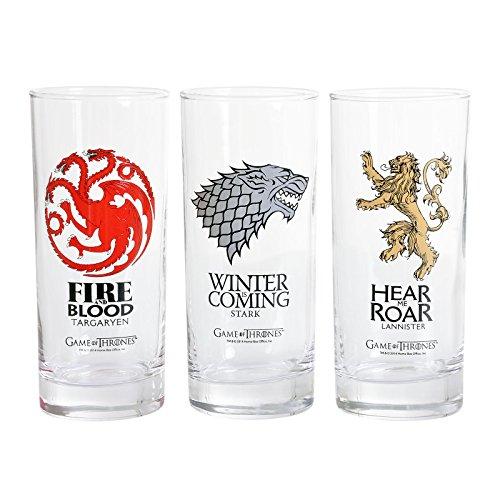 Elbenwald Game of Thrones Gläser Set 3-TLG. mit Stark Targaryen Lannister Wappen 250ml