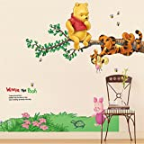 Kibi Disney Winnie The Pooh Wall Stickers Disney Winnie The Pooh & Friends Mural Bear Tiger Animal Wall Sticker Children's Room Kindergarten Winnie The Pooh 3D Wall Stickers