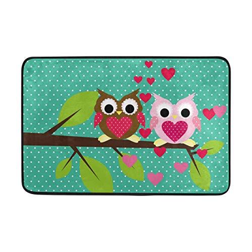 My Daily Lovely Owls Paillasson de Saint-Valentin 15,7 x 23,6 cm Tapis décoratif léger en Mousse imprimé
