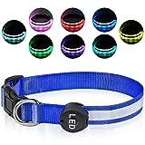 Plartree Collar de Perro LED Recargable USB, Collar con Luz Intermitente Impermeable Collares de Perro Ajustables 8 Colores para Perros Pequeños / Medianos / Grandes
