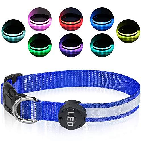 Plartree Collar de Perro LED Recargable USB, Collar con Luz Intermitente Impermeable Collares de Perro Ajustables 8 Colores para Perros...