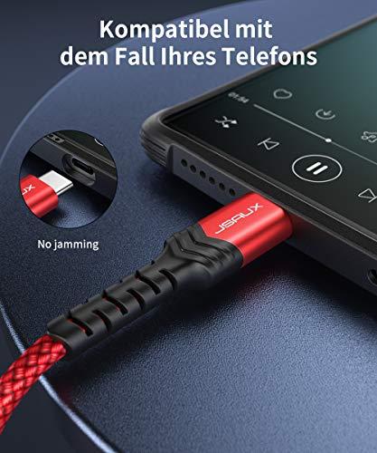 JSAUX USB C auf Klinke AUX Kabel 1M, USBC zu 3,5mm Jack Auto Kopfhörer Adapter Nylon geflochtene Aux Kabel für Huawei P30/P20/Mate 20/30,Samsung Galaxy Note10/A8/A80,HTC U12,Oneplus 7,XiaoMi 8 - Rot