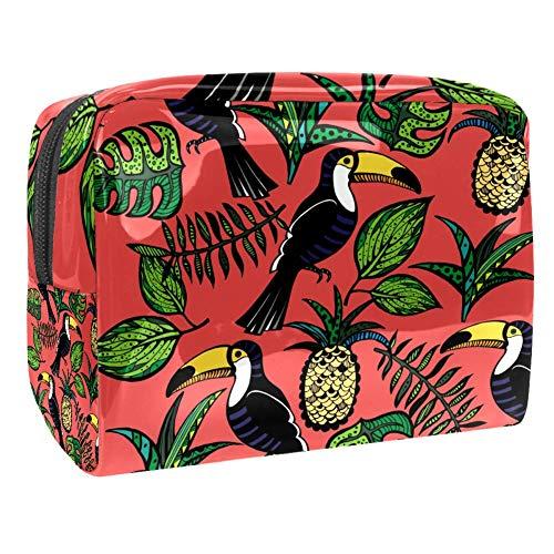 TIZORAX Tropische Toekan Vogel Ananas Bladeren Cosmetische Tassen PVC Make-up Tas Reizen Toiletten Handige Pouch Organizer voor Vrouwen