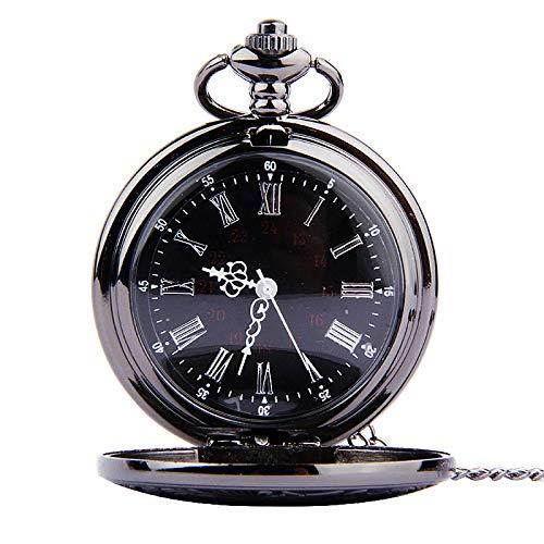 QFERWUhren Taschenuhr Fob Vintage römischen Ziffern Quarzuhr Uhr mit Kette Antikschmuck Anhänger Halskette Geschenke für Vater LL @ 17, weiß