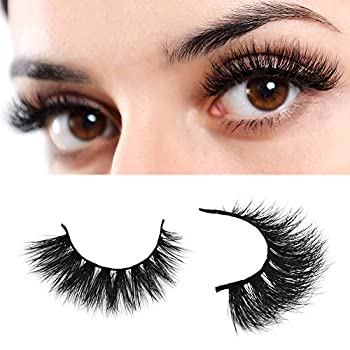 Arison Mink Eyelashes 3D Mink Lashes Natural Fakes Eyelashes Reusable Wispy Strips Silk Handmade Real Long Mink Fur Soft Dramatic Look 1 Pair Package for Women Makeup D009