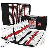 Arteza EverBlend Set de rotuladores mezcladores de doble punta (fina y biselada) | 120 colores vivos | Incluye un práctico maletín | Rotuladores de alcohol para mezclas y capas