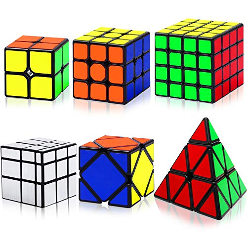 Hellocube Speed Cube Set, Magic Speed Cube Bundle 2x2 3x3 4x4 Pyramid Mirror Skewb Cube, Smooth Sticker Cubes Collection Puzzle Toy for Children Adults, Pack of 6