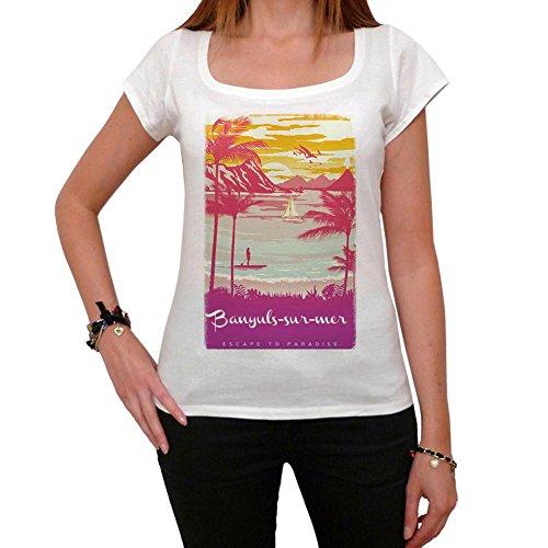 Banyuls-Sur-mer, Escapar al paraíso, La Camiseta de Las Mujeres, Manga Corta, Cuello Redondo, Blanco