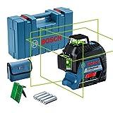 Bosch 0601063Y00 Professional 3-80-Nivel GLL 3-80 G (Alcance 30/ 120 m, 3 líneas, láser Verde, en maletín), 1.5 V, Azul