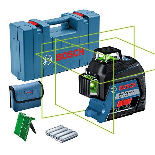 Bosch Professional Linienlaser GLL 3-80 G (grüner Laser, max. Arbeitsbereich: 30 m, 4x AA Batterie, im Handwerkerkoffer)