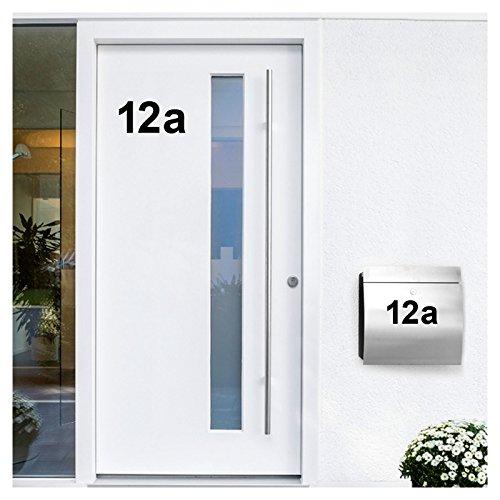 Wandora W1473 Wandtattoo Hausnummer selbstklebend I schwarz Höhe 10 cm Zeichen 1 I Zahlen Buchstaben Ziffern Tür Beschriftung
