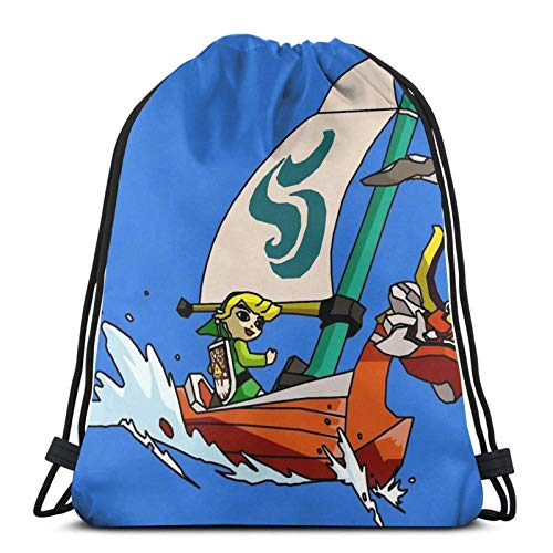 WH-CLA Drawstring Bags Cell Shaded The Wind Waker Print Sport Bag Cinch Pack Hombres Mochila con Cordón Yoga Gym Unique Durable Sport Travel Gym Sack Ligero Impreso Mujeres Compras Anime