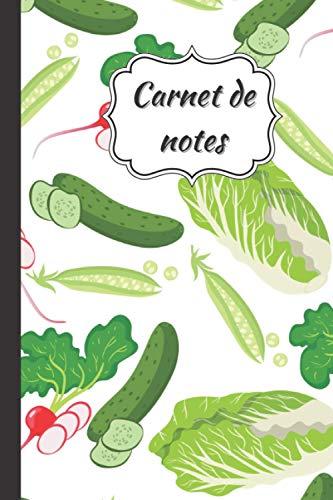 Carnet de notes: Journal intime ligné design pattern légumes verts | Idée de cadeau original pour les enfants et les adultes