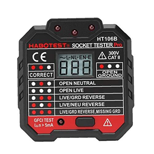 Gracy Probador del zócalo eléctrico 48-250V, automático Neutral Live Earth Pruebas de Cable del Circuito Detector de polaridad del Enchufe de Pared Interruptor Buscador Prueba de Fuga eléctrica