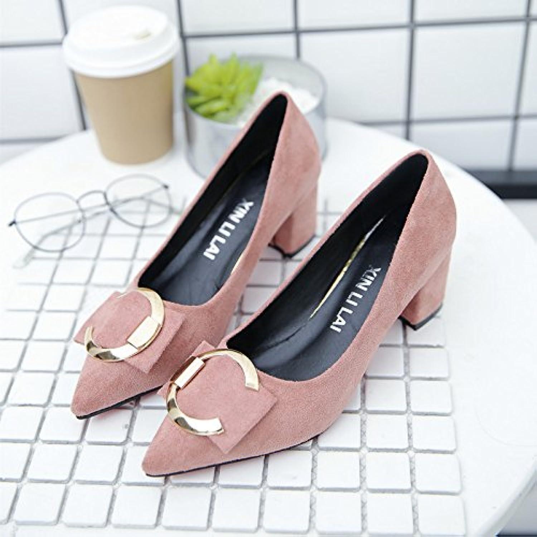 Xue Qiqi Court Schuhe High-Heeled Schuhe weiblich 5cm mit Joker flachen Mund Arbeiten Schuhe weibliche Low-Heels schwarz Metall Runde Schnalle mit Einem einzigen Schuhe, 40, Rosa B07F66LMTJ  Keine Begrenzung zu üben