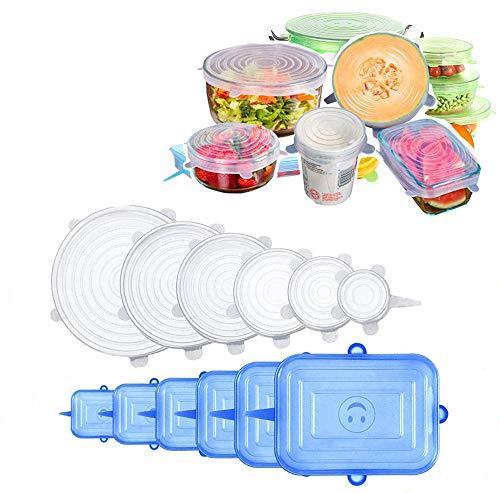 Tapas de Silicona Elásticas,12 Tapas Silicona Ajustables Cocina,Reutilizable Fundas para Alimentos Tapa Tazas,Tapas Expansibles Rectangulares & Redondas para uso en Lavavajilla,Microonda y Nevera