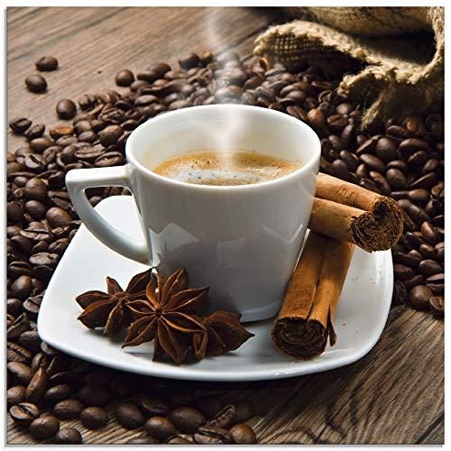 Artland Glasbilder Wandbild Glas Bild einteilig 40x40 cm Quadratisch Kaffee Cafe Coffee Kaffeetasse Kaffeebohnen Zimt Espresso S6BQ