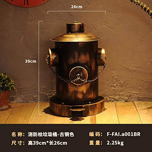 Dekorationszubehör: amerikanischer Retro-Mülleimer, Industrie-Wind, gebrauchte Fußstütze, Feuer-Hydranten-Dekoration, bronzefarben