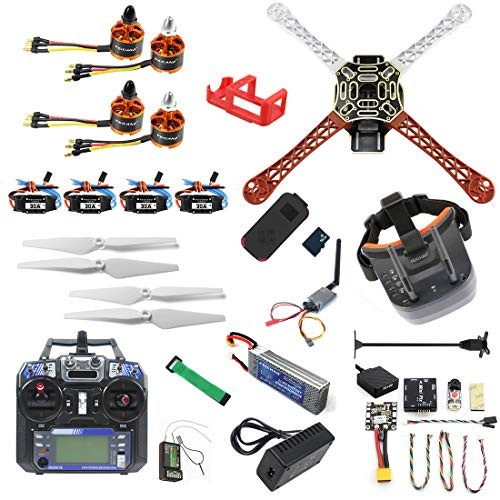 FEICHAO DIY RC Drone Kit F450-V2 FPV Quadcopter con Controlador FS I6 Mini PIX Mini GPS Q6 4K Gran Angular Cámara de acción FPV Watch / FPV Goggles Kit Completo Drone Kit (FPV Goggles Version)