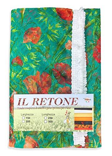 tex family Rideau Filet Moustiquaire de extérieur VD Jardin retone Fleur Vert en Deux mesures FRVD – cm. 150 x 250