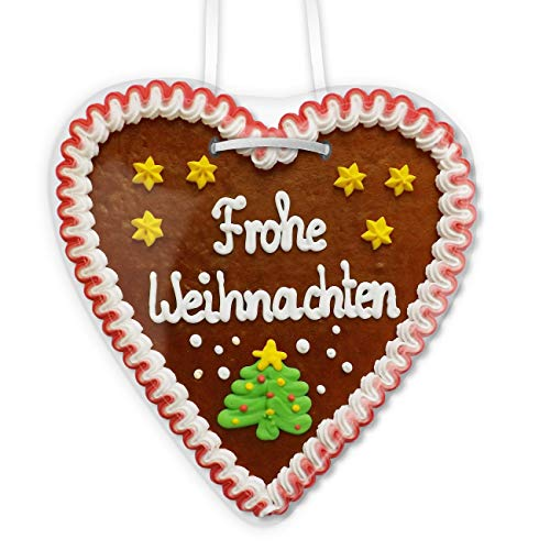 Frohe Weihnachten - Lebkuchenherz groß als weihnachtsgeschenk, Kundenpräsent für Weihnachten, Give-away