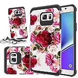 Schutzhülle für Samsung Galaxy Storm Buy (stoßdämpfend), zweilagig, Rosa mit Blumenmuster, Rot - Note 5