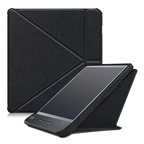 TTVie Hülle für Kobo Libra H2O - Ultra Dünn und Leicht PU Leder Schutzhülle Tasche mit Auto Aufwachen/Schlaf Funktion für Rakuten Kobo Libra H2O E-Book 17,8 cm (7 Zoll) 2019 Modell, Schwarz