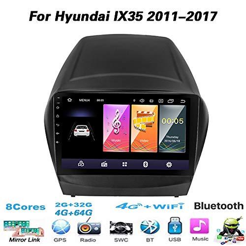 Android 2.5D Gehärteter HD-Touchscreen 9-Zoll-Radio für Hyundai IX35 2011-2017 mit GPS-Navigation Octa Core Bluetooth AM RDS WiFi-Unterstützung SWC Mirror Link Rückfahrkamera,No canbus,4G Wifi 4G 64G