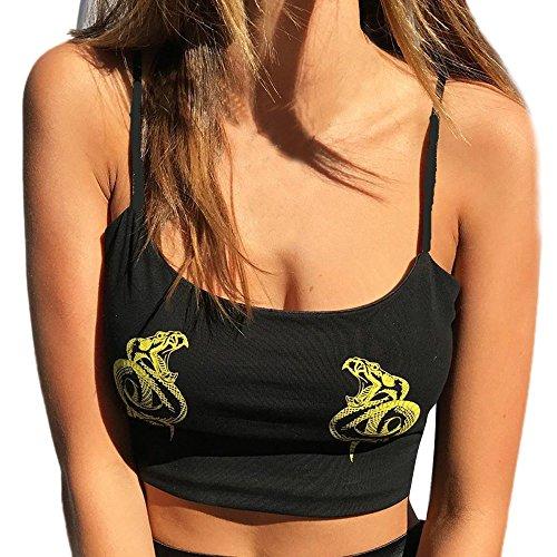 FRAUIT dames mode T-shirt bedrukt slingvest van katoen sexy mode fonkelend shirt vintage vest crop metallic disco tops mouwloos t-shirt casual blouse top